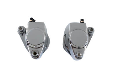Chrome Front 1 Piston Caliper Set with Brake Pads