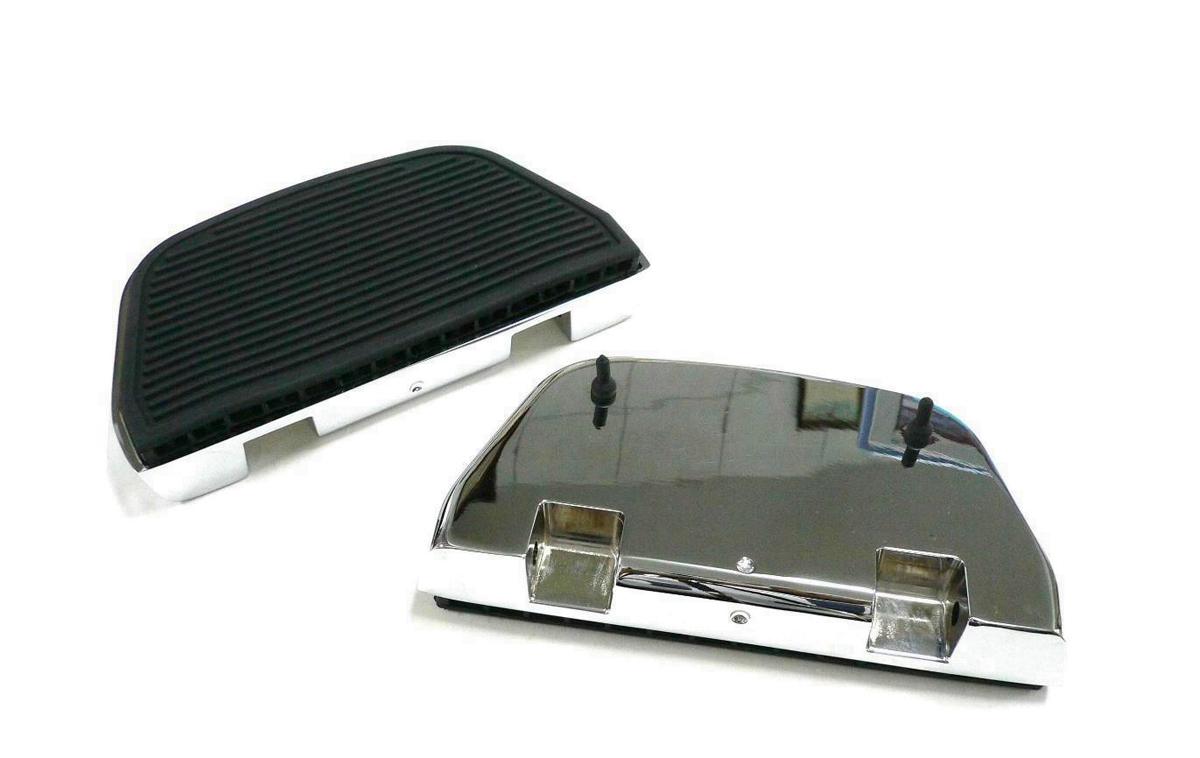 Chrome Ribbed Rear Passenger Footboard Kit