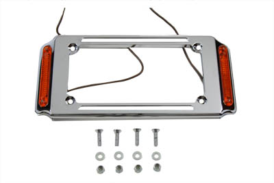 License Plate Frame Chrome with Side Lights