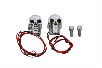 "2"" Chrome Skull Marker Lamp with Red LED"