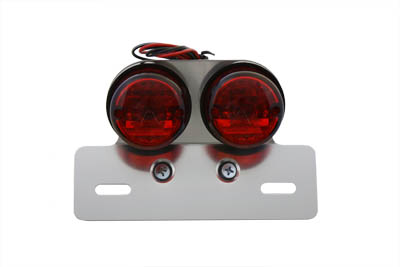 Chrome Twin Round Tail Lamp with Alloy License Bracket