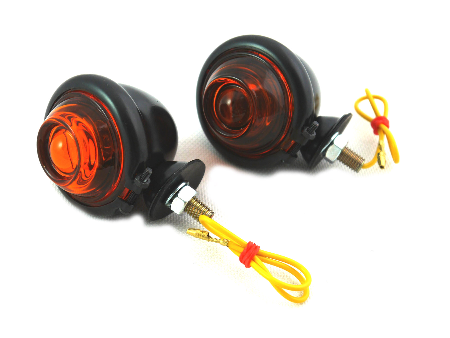 Black Turn Signal Set Bullet with Amber Lens