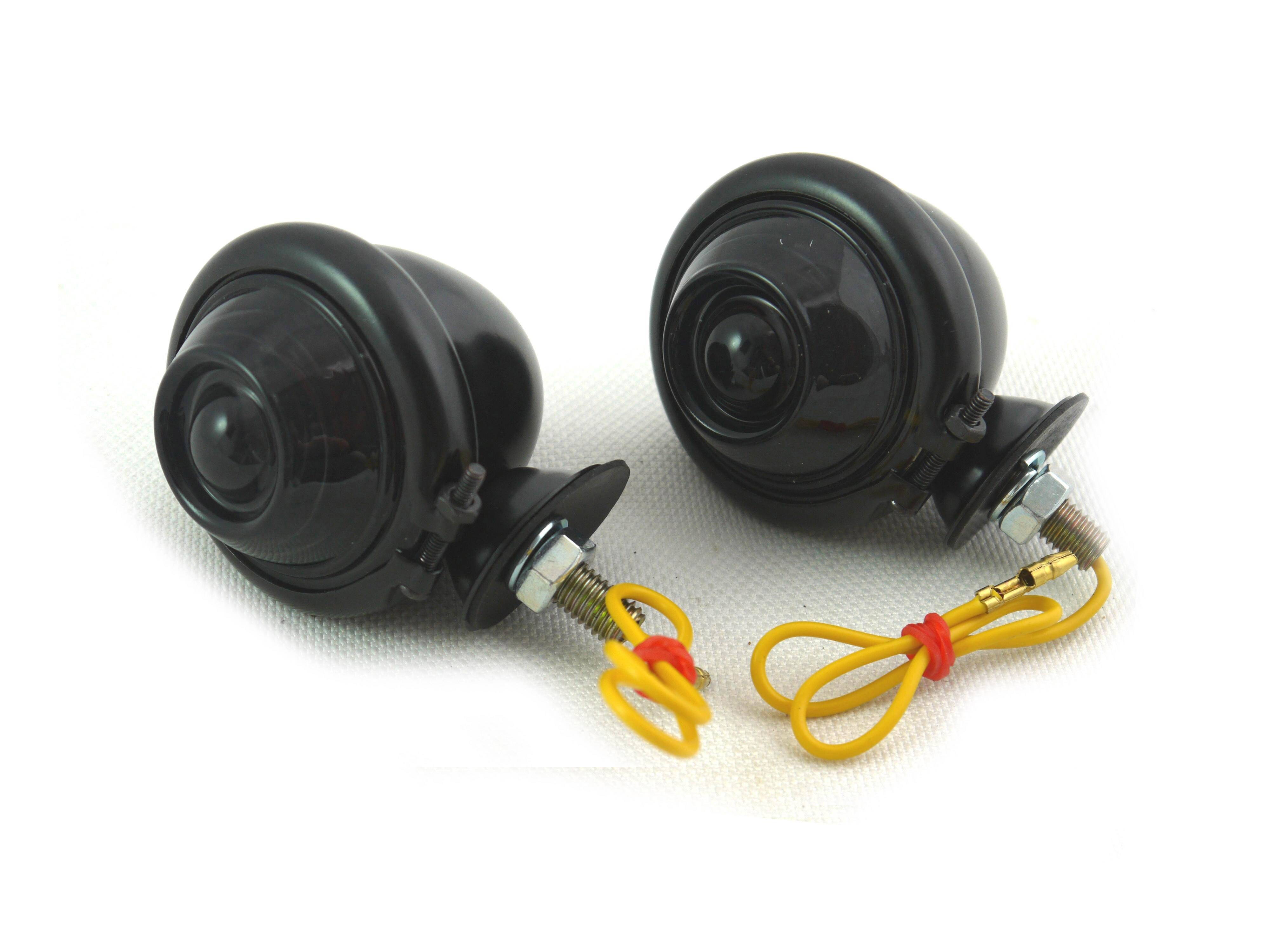 Black Turn Signal Set Bullet with Smoked Lens