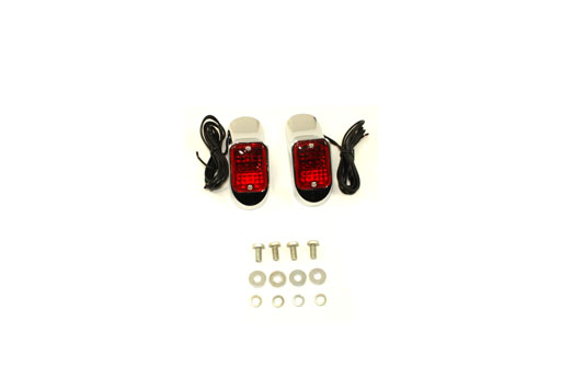 Flush Deco Marker Lamp Set with Red Lens