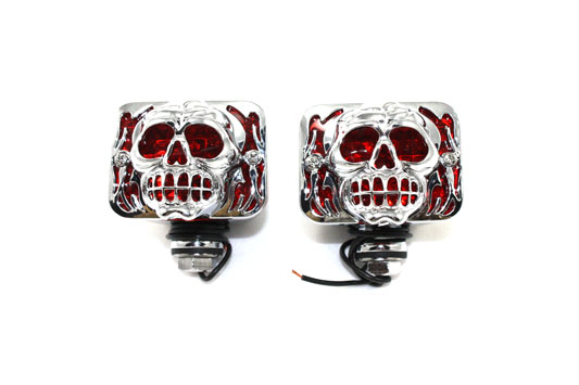 Marker Lamp Set with Skull Grill Red Lens