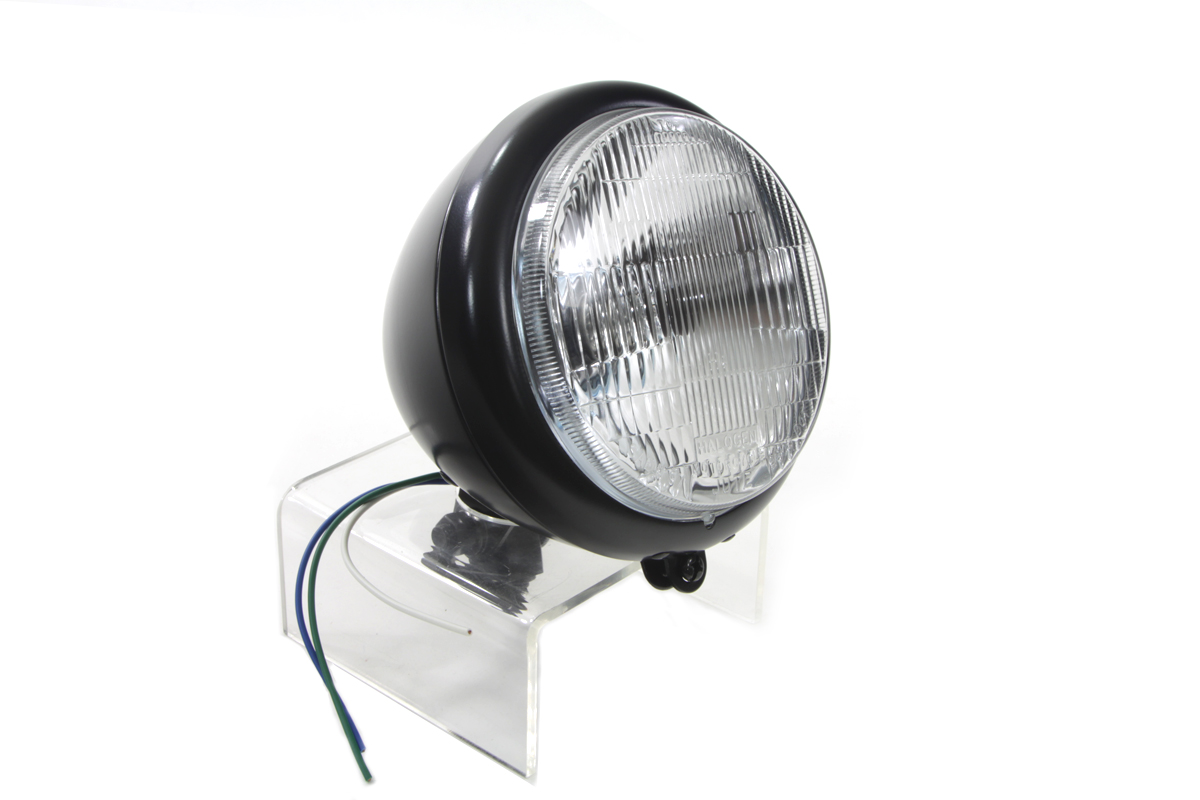"Black 5-3/4"" Round Headlamp Tear Drop Style"