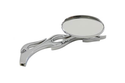 Oval Mirror with Billet Flame Stem, Chrome