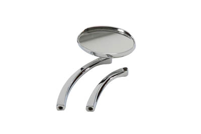 Oval Mirror with Solid Billet Stem, Chrome