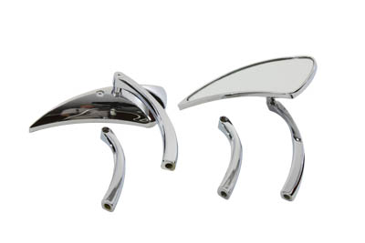 Tear Drop Mirror Set with Solid Billet Stems, Chrome