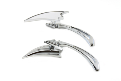 Crescent Mirror Set with Billet Spear Stems, Chrome