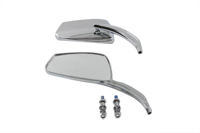 Rectangle Mirror Set with Billet Stems, Chrome