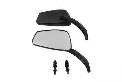 Rectangle Mirror Set with Billet Stems, Black