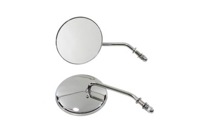 "4"" Round Mirror Set with Round Stock Stems, Chrome"