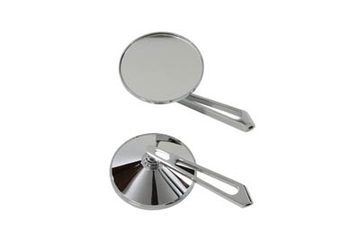 "3-3/4"" Round Mirror Set with Long Billet Stems, Chrome"