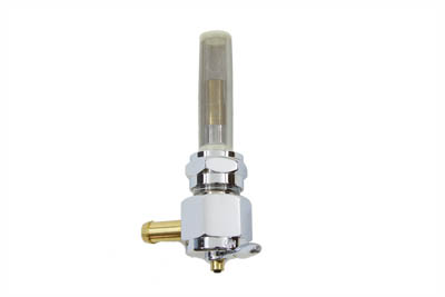 Chrome Hex Petcock 90° Right Hand Spigot with Nut
