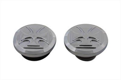Iron Cross Style Vented and Non-Vented Billet Gas Cap Set