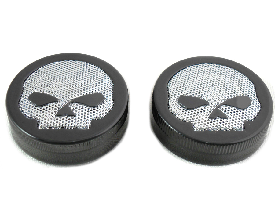 Black Skull Style Vented and Non-Vented Gas Cap Set
