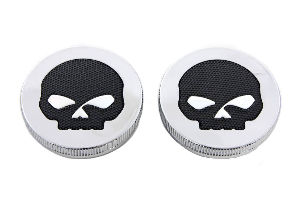 Chrome Skull Style Vented and Non-Vented Gas Cap Set