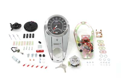 Chrome Two Light Dash Panel Kit with 2:1 Ratio Speedometer