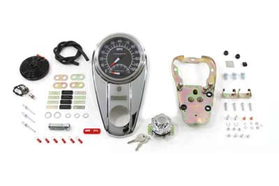 Chrome Two Light Dash Panel Kit with 1:1 Ratio Speedometer