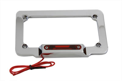 License Plate Frame Chrome Billet with Red LED Top Lamp