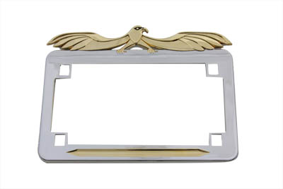 License Plate Frame Flying Eagle Style Gold Inlay