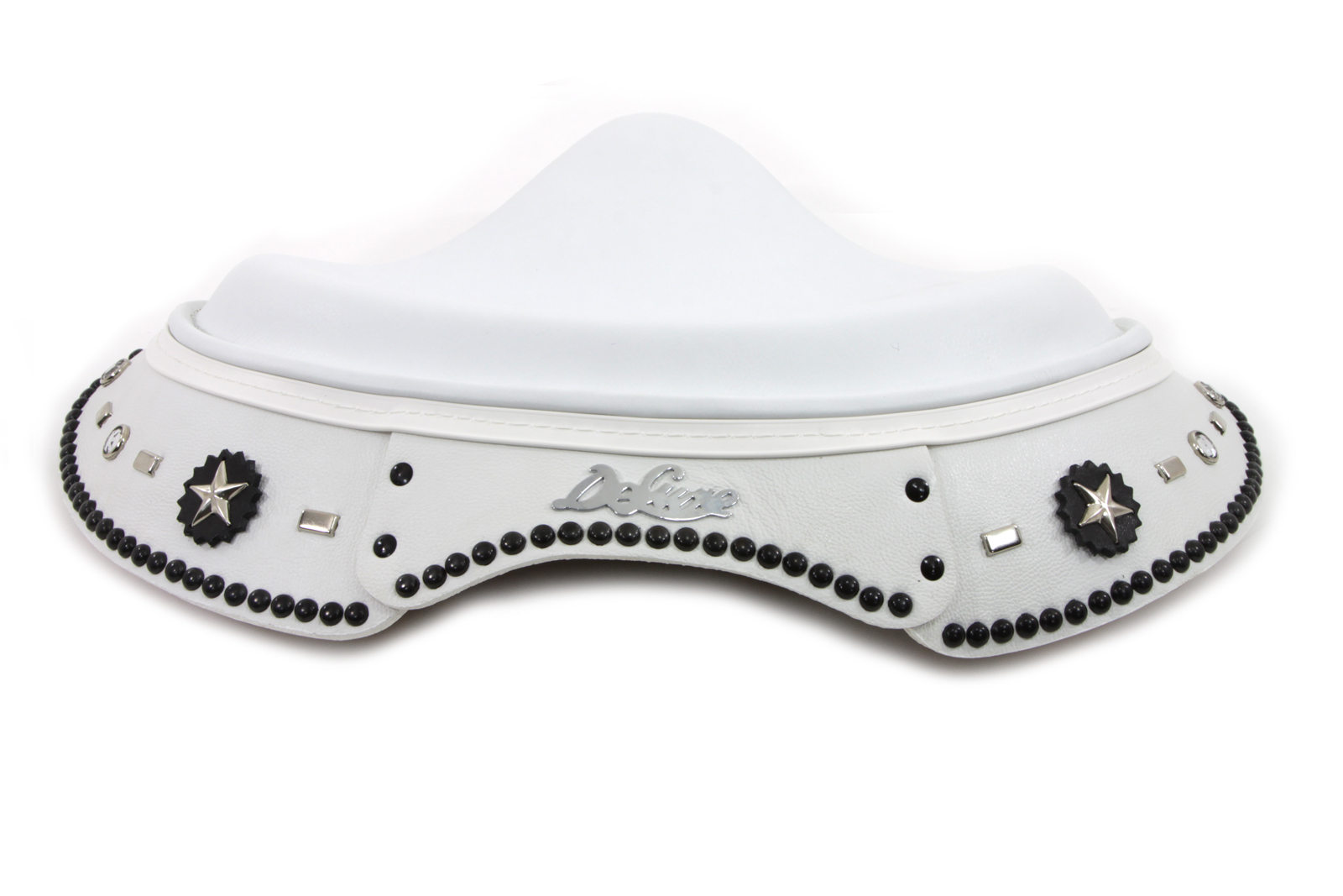 White Leather Deluxe Solo Seat with Skirt